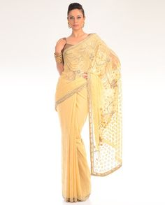 Sequins Embellished Pale Yellow Sari  by DIA