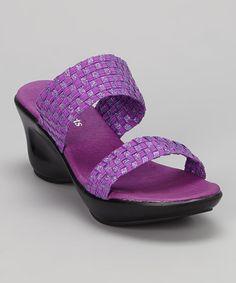 Another great find on #zulily! Purple Metallic Emma Wedge Sandal #zulilyfinds