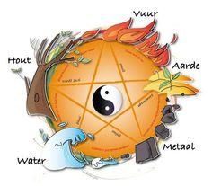 5 elementen - Water - vuur - hout - metaal - aarde