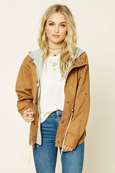 Forever 21 Contemporary - A woven utility jacket featuring a heathered hood, zipper and button front, long sleeves with button cuffs, front button pockets and a drawstring waist.