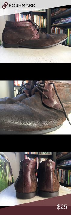 Men's Brown Boots Base London brand leather and suede boots. Worn as shown in photos. Soles still have lots of wear. Bought used & never wore. Base London Shoes Boots