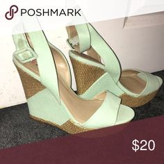 Wedges Never worn, Just Fab wedges! They're a mint green with a strap that wraps around your ankle and easy buckle. Size 8! JustFab Shoes Wedges