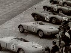 Grainy but interesting picture of the 1956 start.Only #12 would survive - Ferrari, 3rd place. #11-Ferrari, #14-Aston Martin, #15 & #16-Gordinis.