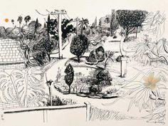 Prints & Graphics - Brett Whiteley - Page 12 - Australian Art Auction Records Australian Painting, Australian Artists, Art And Illustration, Dancing Drawings, Art Drawings, Drawing Art, Social Art, Landscape Drawings, Landscapes