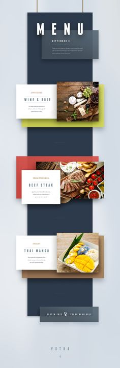 Menu template for restaurant, wedding, or event websites.