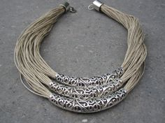 Necklace Linen Natural Soft Fantasy 3 Cylinders Engraved Metal Silver Color Handmade 100%. Mediterranean Style