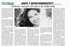 Spanish Newspaper featuring Selena Quintanilla