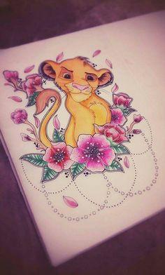 Simba A4 laminiert print Tattoo-design von LadyEvzArt auf Etsy