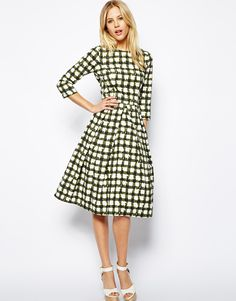 ASOS Skater Dress In Check With 3/4 Sleeve http://asos.to/1gO091q