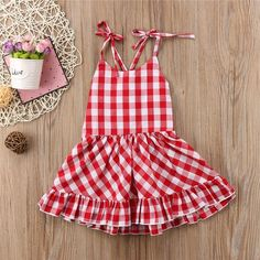 Material: Cotton, PolyesterSleeve Length (cm): SleevelessPattern Type: PlaidDresses Length: Above Knee, MiniCollar: V-neckFit: Fits true to size, take your normal size Toddler Girl Outfits, Baby Girl Dresses, Baby Dress, Kids Outfits, Cute Outfits, Little Girl Closet, Picnic Dress, Frocks For Girls, Kids Fashion