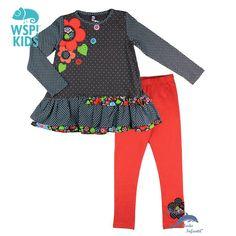 Conjunto de niña WSPKIDS de camiseta topos y malla bordada