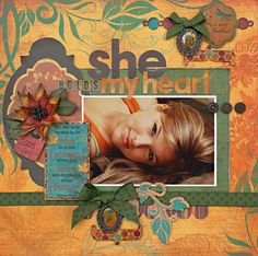 She **New Bo Bunny** - Scrapbook.com - Beautiful layout and love the colors! #scrapbooking #bobunnypress