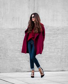 Wine-Red-Long-Sleeve-Knit-Cardigan-Red-Long-Sleeve-Knit-Sweater-Denizen-by-Levis-Womens-Essential-Stretch-Skinny-Jean-1.jpg (980×1216)