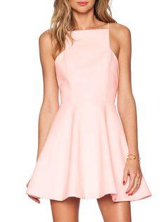 Pink Spaghetti Strap Zipper Flare Dress