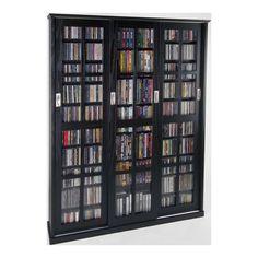 Leslie Dame DVD Storage Espresso Mission Style Sliding Glass Door DVD Cabinet - Leslie Dame DVD Storage - MS-1050ES