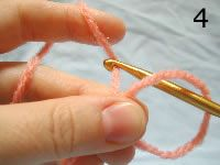 """Step by step instructions on how to crochet the """"magic circle"""" (the disappearing hole circle) so that when you're crocheting in the round, you can tighten it after the first few stitches and have no center gap."""