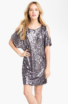 Holiday Party?  Aidan Mattox Sequin Cold Shoulder Shift Dress available at #Nordstrom - In Gold