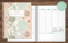 2016 2017 planner custom planner student planner VERTICAL LAYOUT weekly monthly calendar agenda / sage green pink gold floral pattern