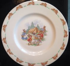"Vintage Royal Doulton Bunnykins Camping Scene Salad Plate 8"" Free Shipping in USA (10.99 USD) by JulesVintageStore"