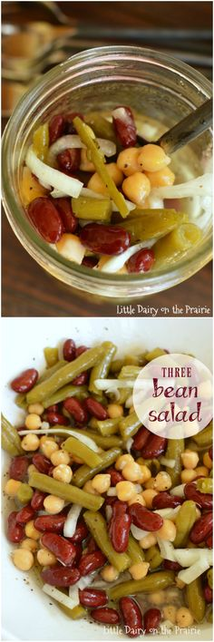 Easy Three Bean Salad Three Bean Salad is one of my go to salads! I always have the ingredients in my pantry, its so easy to make, and every one raves about it! Bean Salad Recipes, Veggie Recipes, Vegetarian Recipes, Cooking Recipes, Healthy Recipes, Bean Salads, Cooking Stuff, Vegetarian Lunch, Fruit Salads