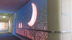 ENESS LUMES Interactive Light walls, wood material.  Lighting in Healthcare.