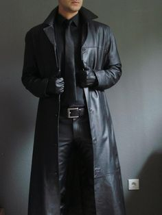 Men Winter Gothic Steampunk Long Trench Coat Plus Size Turn Neck Solid Long Leather Coat Casual Cool Men Motocycle Warm Jackets Mens Leather Coats, Long Leather Coat, Men's Leather, Leather Jackets, Real Leather, Leather Fashion, Mens Fashion, Latest Fashion, Mode Costume