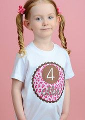 Pink Leopard Print Birthday Kids Shirt Personalized T-shirt for Girls | FUNKY MONKEY THREADS #FMT #funkymonkeythreads #leopardbirthday