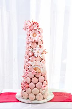Japanese infusion themed macaron t Alternative Wedding Cakes, Wedding Cake Alternatives, Macaron Cake, Cupcake Cakes, Meringue, Birthday Party Desserts, 21st Birthday, Birthday Parties, Macaroon Tower