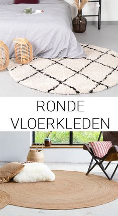 Meer rond op de grond! Geef je woonkamer, slaapkamer of studeerkamer meer sfeer met een rond vloerkleed Bohemian Bedroom Decor, Cozy Bedroom, Room Decor Bedroom, Bedroom Minimalist, Cosy House, Round Rugs, Room Inspiration, Relax, My Room