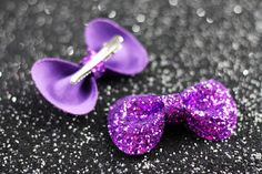 Purple Hair Bow Clips Glitter Hair Accessories Cute by JanineBasil, £12.00