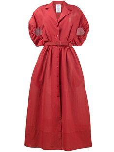 Rosie Assoulin gathered puff sleeve shirt dress