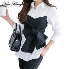 2017 Summer Korean Fashion Tie Shirt Blouse Female Black Bow Long Sleeve White Shirt OL Lady Office Shirt Plus Size Women Tops(China) Blouse Styles, Blouse Designs, Image Fashion, Korean Blouse, Top Mode, Plus Size Women's Tops, The Office Shirts, White Long Sleeve, Shirt Blouses