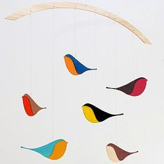 Songbird mobile- stained plywood beech.
