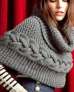 Gola em tricot com trança