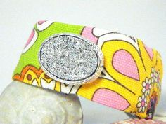 S A L E Handmade OOAK Bracelet in Bright Flowers with Faux Druzy