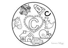 Mandalas del abecedario para colorear: Letra C