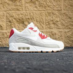 af1b11b0d4e375 Nike Women Air Max 90 QS (white   summit white   beige chalk   gym red)