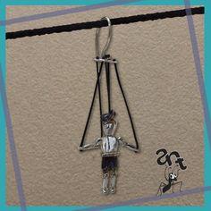 Sterling silver handmade marionette earring (puppet)