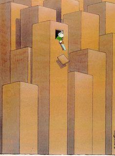 Guillermo Mordillo Satirical Illustrations, Humor Grafico, Funny Cartoons, Satire, Cartoon Drawings, Folk Art, Jigsaw Puzzles, Architecture, Human Rights