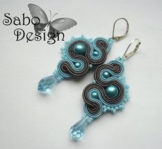 Blue Dragons - soutache earrings, handmade, embroidered in light blue and dark… Metal Jewelry, Beaded Jewelry, Unique Jewelry, Jewellery, Passementerie, Soutache Earrings, Wire Weaving, Beautiful Earrings, Beaded Embroidery