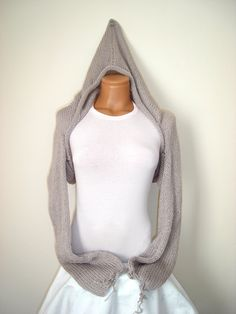 Light grey hand knitted bolero, with hood shrug, scarf, shawl, long sleeve...love the versatility