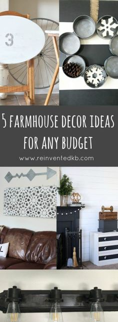 Five Farmhouse Decor Ideas For Any Budget. Add Some Fixer Upper Style to Your Home with these easy DIY projects.