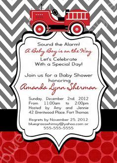 Firetruck Baby Shower Invitation for a Baby Boy- red, black  Gray. $15.00, via Etsy.