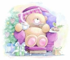 Relax n smell the coffee Hello Kitty Christmas, Noel Christmas, Christmas Morning, Cute Images, Cute Pictures, Teddy Beer, Teddy Bear Pictures, Blue Nose Friends, Hallmark Cards