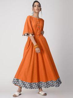 Orange Handwoven Cotton Dress/Kurta with Tassels Cotton Gowns, Cotton Long Dress, Indian Dresses, Indian Outfits, Kaftan, 1920s Fashion Women, Ethnic Dress, Jumpsuit Dress, Indian Designer Wear