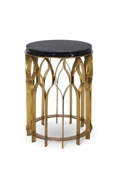 Mecca Is A Modern Round Side Table With A Marble Nero Marquina Table Top  And A
