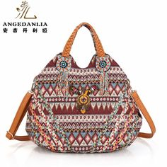 Trendy embroidery Women Striped PU Leather Handbag Bohemian Boho Gypsy Bags  Cotton Fabric Bag national folk-custom ethnic bags 052f84443f4fa