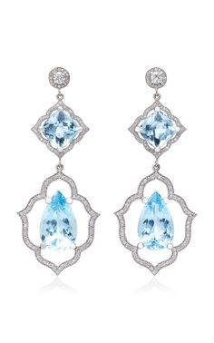 Shop White Gold, Aquamarine And Diamond Earrings. Sara Weinstock's earrings are inspired by Arabesque textiles of ancient civilizations. Aquamarine Earrings, Diamond Drop Earrings, Diamond Studs, Trendy Jewelry, Modern Jewelry, Jewelry Trends, High Jewelry, Ring Verlobung, Beautiful Earrings