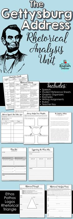 Teach rhetorical analysis to your students with The Gettysburg Address. Ideal for high school English classes, this rhetorical analysis unit includes activities, graphic organizers, writing, and more!