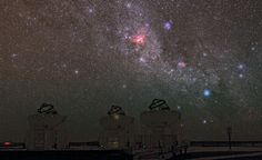 One Picture, Many Stories.  ESO Photo Ambassador, Babak Tafreshi has captured an outstanding image of the sky over ESO's Paranal Observatory, with a treasury of deep-sky objects.  The most obvious of these is the Carina Nebula, glowing intensely red in the middle of the image.  The Carina Nebula lies in the constellation of Carina (The Keel), about 7500 light-years from Earth.